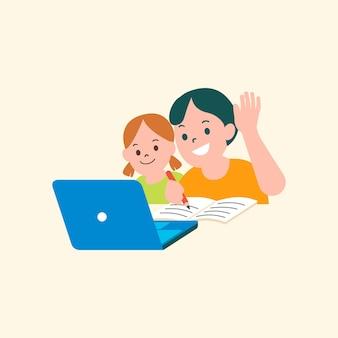 Vecteur d'enfants étudiant le graphique plat de classe en ligne