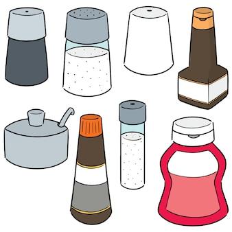 Vecteur ensemble de bouteilles de condiments