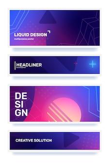 Vecteur, ensemble, de, créatif, couleur, résumé, horizontal, retro, illustration, dans, cadre, à, forme, néon, star