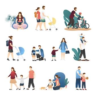 Vecteur, ensemble, de, heureux, aimer, famille, scènes