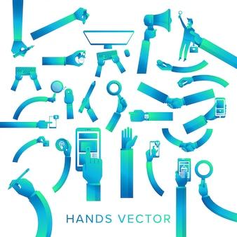 Vecteur ensemble mains tenir l'appareil