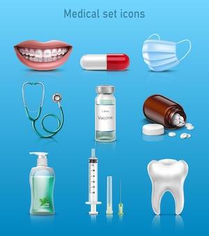 Vecteur, ensemble, de, médecine, icônes, sourire, capsule, masque, stéthoscope, vaccin, bouteille, de, pilules, seringue