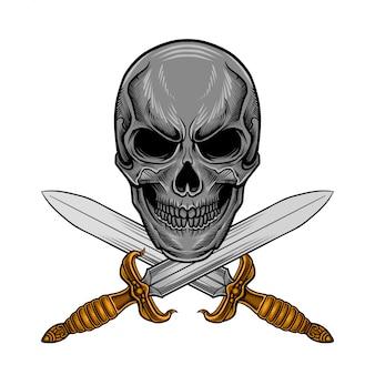 Vecteur d'épée de crâne