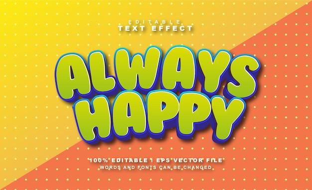 Vecteur eps gratuit d'effet de texte toujours heureux