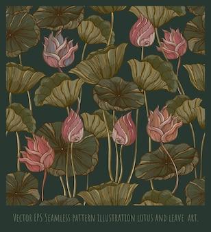 Vecteur eps seamless pattern vintage ligne dessinée illustration lotus et feuilles art
