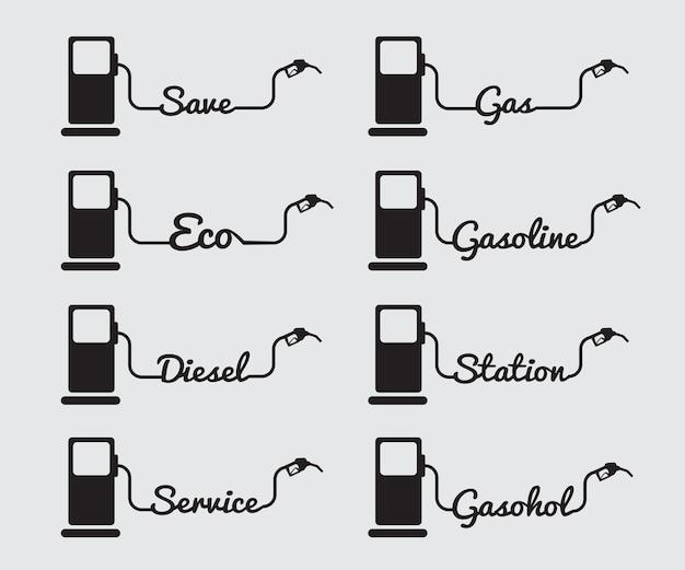 Vecteur essence pompe buse signe station-service icône