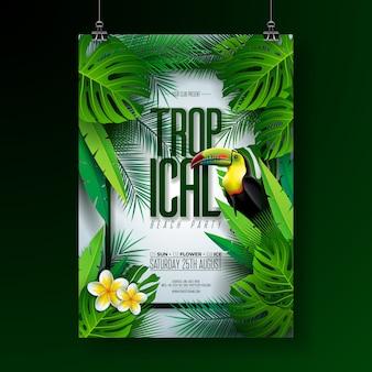 Vecteur été tropical beach party flyer design