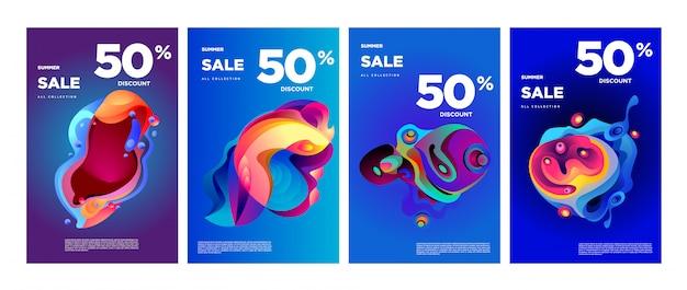 Vecteur été vente 50% de réduction bannière colorée fluide