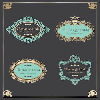 Vecteur d'étiquettes de mariage vintage