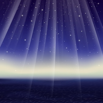 Vecteur étoilé abstrait nuit et la mer