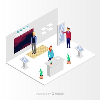Vecteur d'exposition de stand isométrique créatif