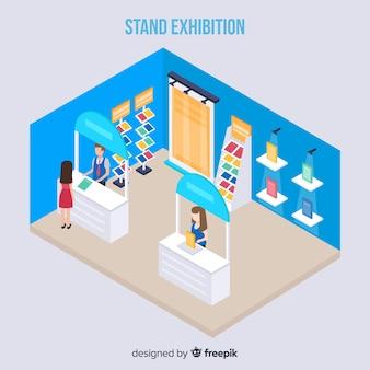 Vecteur d'exposition de stand isométrique