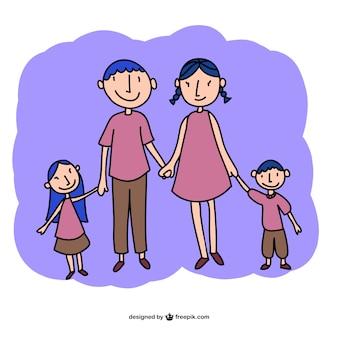 Vecteur famille dessin art libre