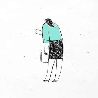 Vecteur de femme de bureau intelligent tenant l'icône de doodle de papiers