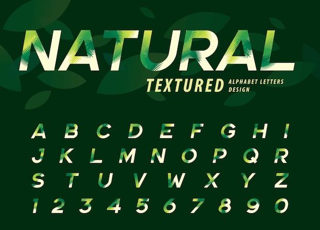 Vecteur, feuilles, lettre, alphabet, texture, feuille paume verte, lettre