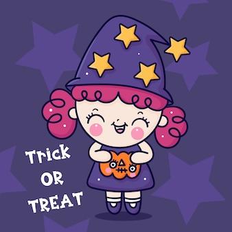 Vecteur de fille mignonne sorcière halloween tenant citrouille kawaii dessinés à la main