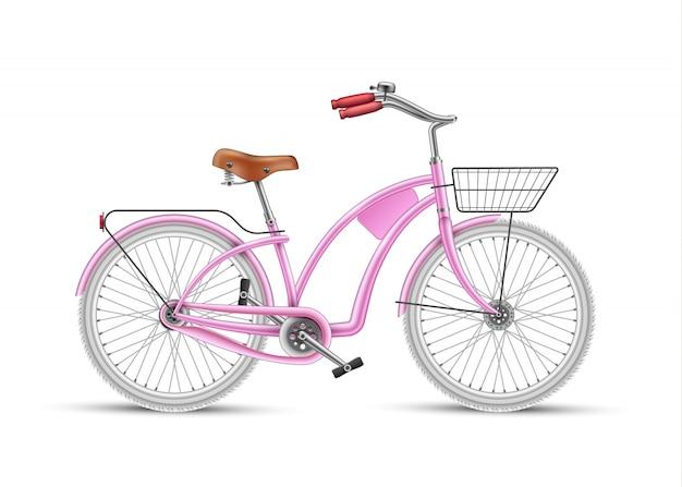 Vecteur fille rose vélo réaliste 3d isolé
