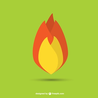 Vecteur flamme design plat