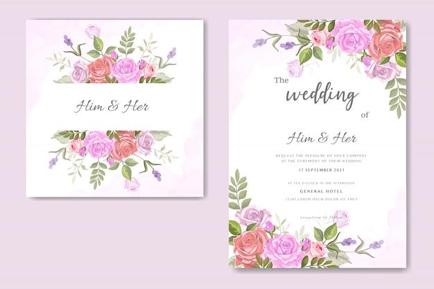 Vecteur de fleur rose invitation de mariage