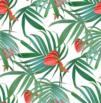 Vecteur des fleurs tropicales et palm feuilles modèle sans couture.