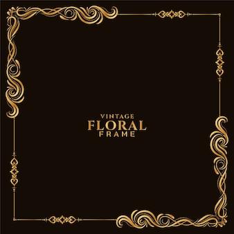Vecteur de fond abstrait cadre floral doré