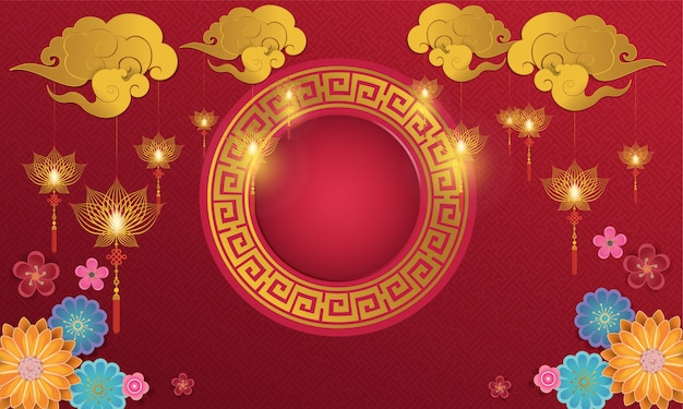 Vecteur de fond abstrait graphique et nouvel an chinois