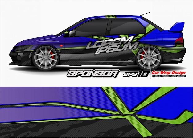Vecteur de fond abstrait pour la conception de l'emballage de voiture de course et la livrée du véhicule