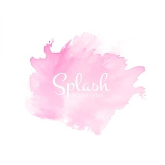 Vecteur de fond abstrait rose doux aquarelle splash design