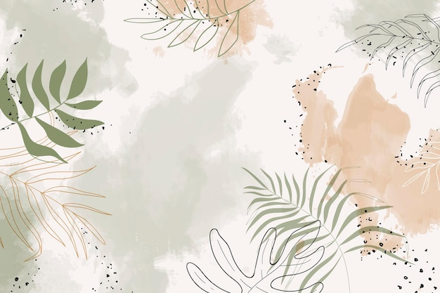 Vecteur de fond aquarelle feuillu beige