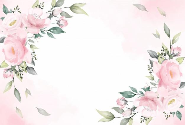 Vecteur de fond aquarelle de fleurs roses