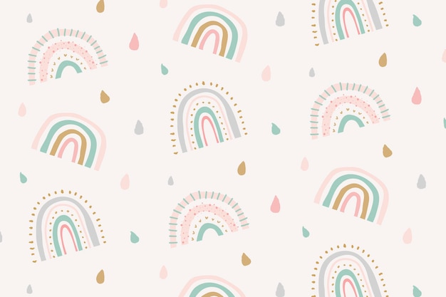 Vecteur de fond arc-en-ciel motif doodle mignon