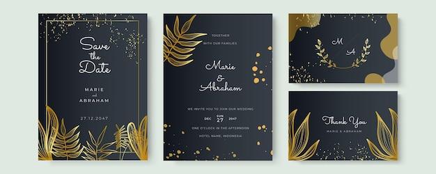 Vecteur de fond d'art abstrait. fond de carte d'invitation de luxe avec fleur d'art en ligne dorée et feuilles botaniques, formes organiques