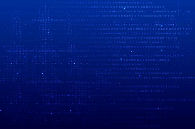 Vecteur de fond bleu technologie de données avec code binaire