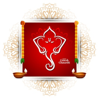 Vecteur de fond de cadre rouge traditionnel happy ganesh chaturthi festival