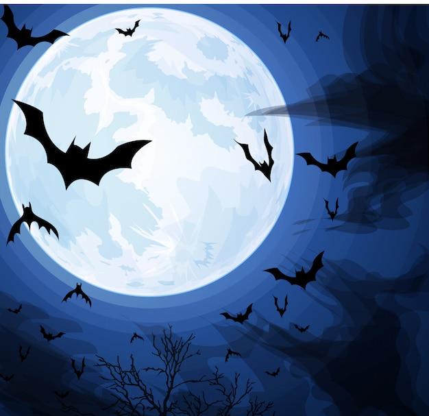 Vecteur de fond cauchemar pleine lune