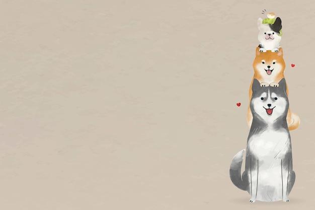 Vecteur de fond de chien dessiné à la main avec illustration d'animaux mignons
