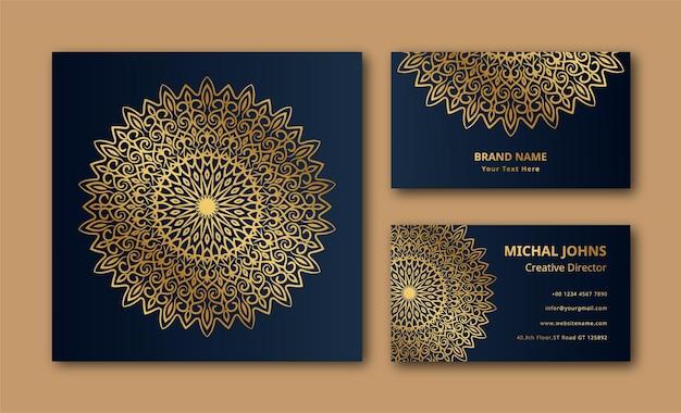 Vecteur de fond de conception de carte de visite mandala ornemental
