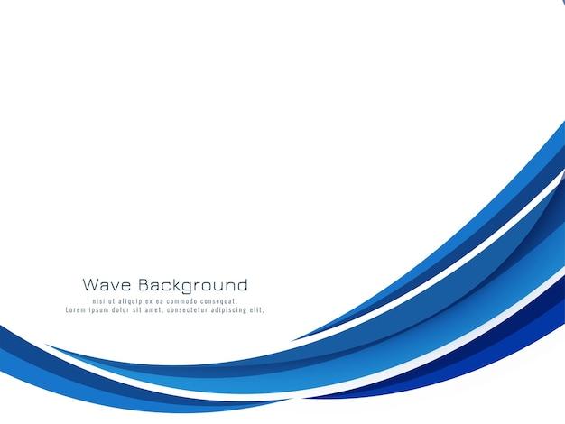 Vecteur de fond de conception élégante belle vague bleue qui coule