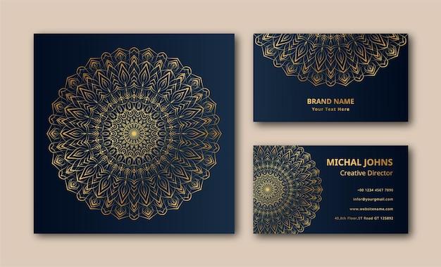 Vecteur de fond de conception de mandala de carte de visite ornementale