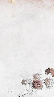 Vecteur de fond d'écran de téléphone mobile chatoyant floral blanc
