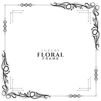 Vecteur de fond élégant cadre floral abstrait blanc