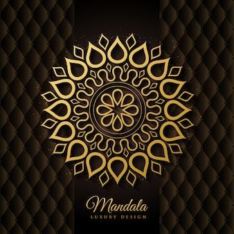 Vecteur de fond élégant mandala noir et or