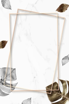 Vecteur de fond de feuilles d'or métallique