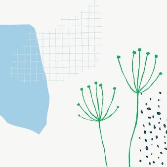 Vecteur de fond floral grille blanche avec doodle fleur de pissenlit