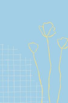 Vecteur de fond floral grille bleue avec doodle fleur de fleurs sauvages