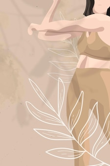 Vecteur de fond floral pour la santé des femmes dans le thème du bien-être marron