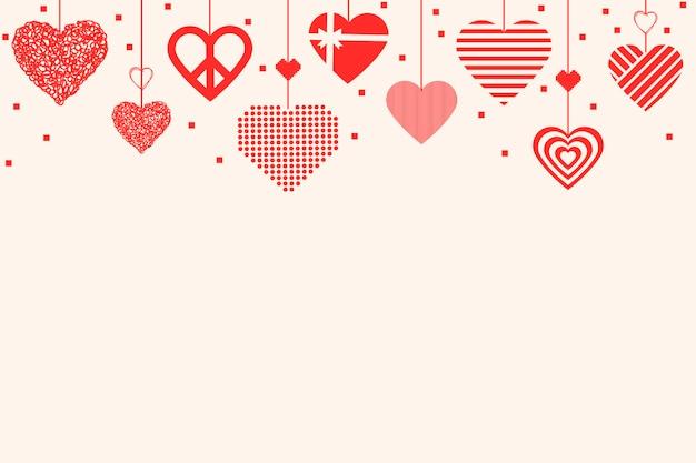 Vecteur de fond de frontière coeur mignon, image graphique d'amour