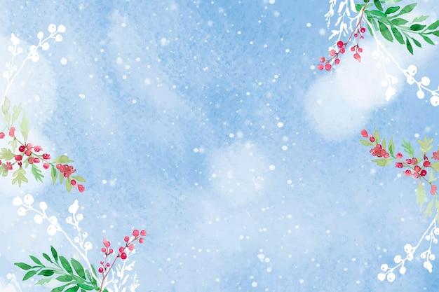 Vecteur de fond de frontière de noël floral en bleu avec de belles baies d'hiver rouges