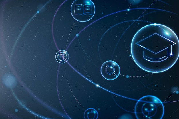 Vecteur de fond futuriste de la technologie de l'éducation dans le remix numérique bleu dégradé