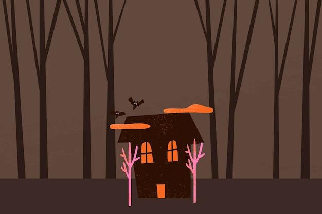 Vecteur de fond d'halloween de dessin animé, illustration de maison hantée fantasmagorique